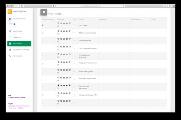 Bewertungen für bereits genutzte Vorlagen machen die Auswahl im Projektmanagement- Tool einfacher.