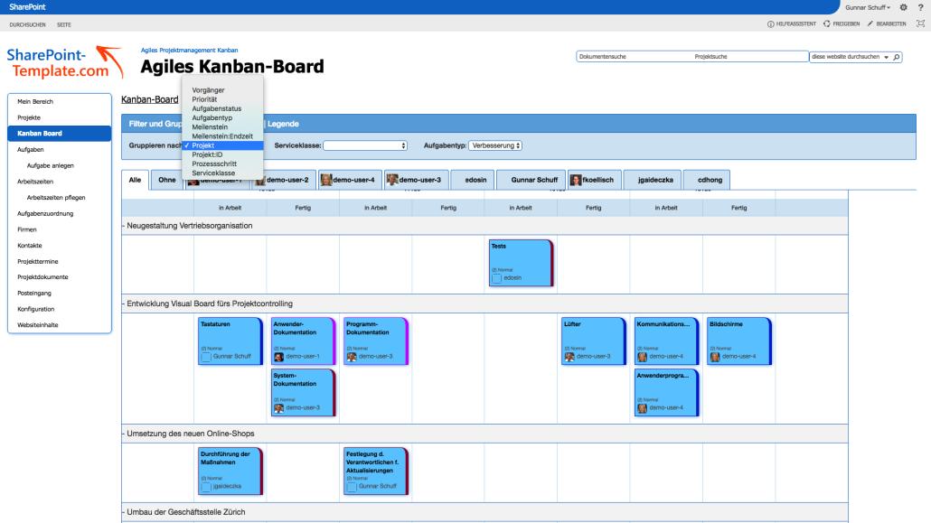 Filterung und Sortierung von Aufgaben im Projektmanagement