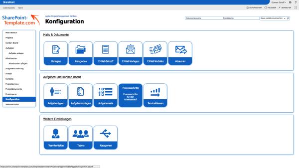 Konfiguration von Prozessschritten im Projektmanagement