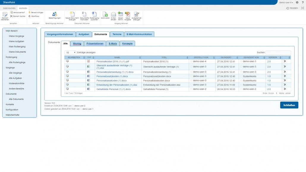SharePoint Dokumentenübersicht