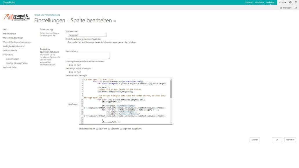 SharePoint Spalten Javascript